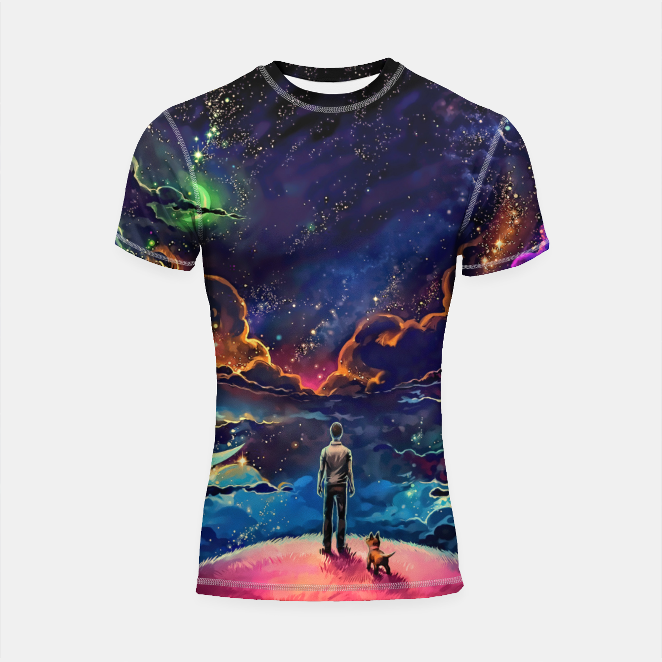 Image of Man dog space Shortsleeve rashguard - Live Heroes