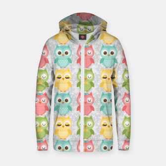 Owl Pattern Zip up hoodie miniature