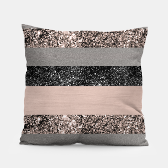 Thumbnail image of Blush Glitter Glam Stripes #1 #shiny #decor #art Kissen, Live Heroes