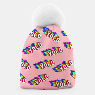 """Thumbnail image of Patches with rainbow words """"YOLO"""" (you only live once) Beanie, Live Heroes"""