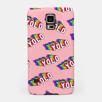 """Thumbnail image of Patches with rainbow words """"YOLO"""" (you only live once) Samsung Case, Live Heroes"""