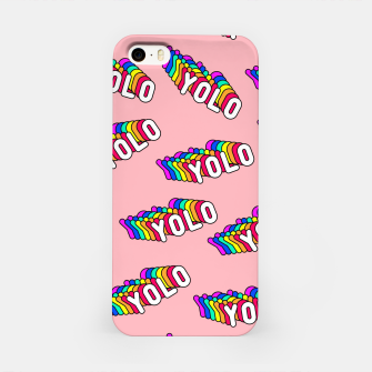 """Thumbnail image of Patches with rainbow words """"YOLO"""" (you only live once) iPhone Case, Live Heroes"""