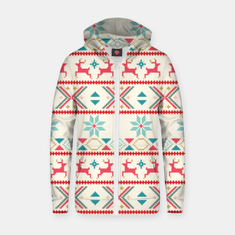 Thumbnail image of Fair Isle Knit retro colors Zip up hoodie, Live Heroes
