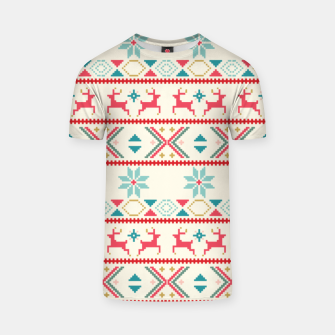 Thumbnail image of Fair Isle Knit retro colors T-shirt, Live Heroes