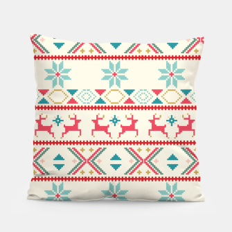 Thumbnail image of Fair Isle Knit retro colors Pillow, Live Heroes