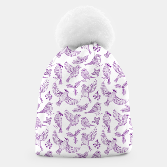 Miniaturka Winter Birds and Foliage Pattern (Purple) Beanie, Live Heroes