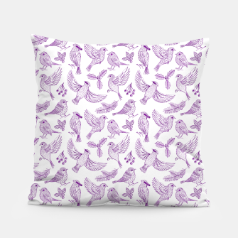 Miniaturka Winter Birds and Foliage Pattern (Purple) Pillow, Live Heroes