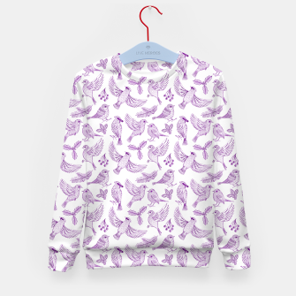 Miniaturka Winter Birds and Foliage Pattern (Purple) Kid's sweater, Live Heroes