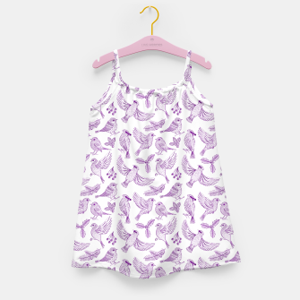 Miniaturka Winter Birds and Foliage Pattern (Purple) Girl's dress, Live Heroes