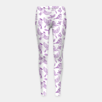 Miniaturka Winter Birds and Foliage Pattern (Purple) Girl's leggings, Live Heroes
