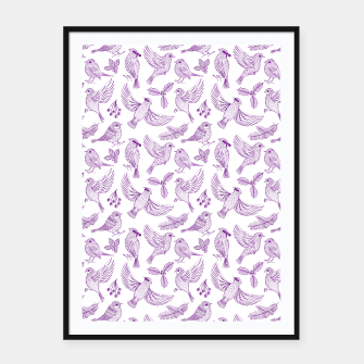 Miniaturka Winter Birds and Foliage Pattern (Purple) Framed poster, Live Heroes