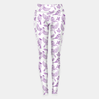Miniaturka Winter Birds and Foliage Pattern (Purple) Leggings, Live Heroes