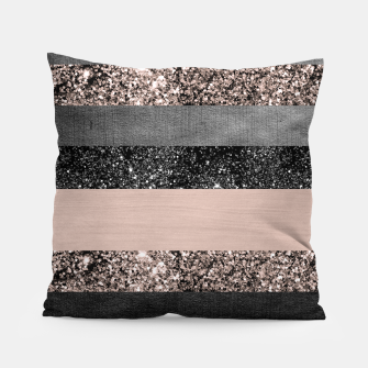 Thumbnail image of Blush Glitter Glam Stripes #2 #shiny #decor #art Kissen, Live Heroes