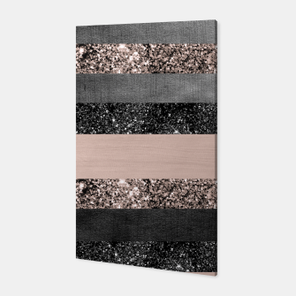 Thumbnail image of Blush Glitter Glam Stripes #2 #shiny #decor #art Canvas, Live Heroes