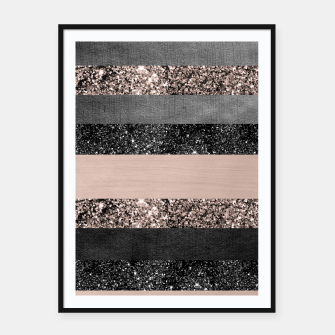 Thumbnail image of Blush Glitter Glam Stripes #2 #shiny #decor #art Plakat mit rahmen, Live Heroes