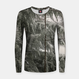 Thumbnail image of Snow Covered Pine Tree Women sweater, Live Heroes