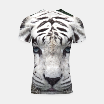 Thumbnail image of White Tiger Blue Shortsleeve rashguard, Live Heroes
