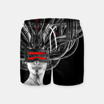 Thumbnail image of Hardwired - Cyberpunk Gamer Pin-up Girl Swim Shorts, Live Heroes