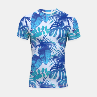 Thumbnail image of Blue Jungle Shortsleeve rashguard, Live Heroes