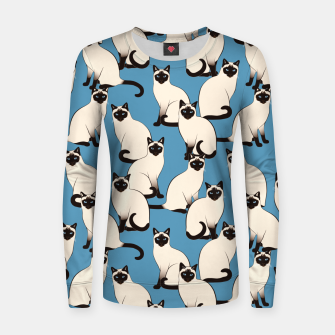 Thumbnail image of Siamese cats blue pattern Women sweater, Live Heroes