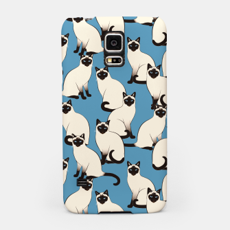 Thumbnail image of Siamese cats blue pattern Samsung Case, Live Heroes