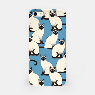 Thumbnail image of Siamese cats blue pattern iPhone Case, Live Heroes