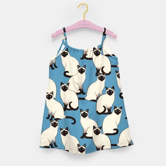 Thumbnail image of Siamese cats blue pattern Girl's dress, Live Heroes
