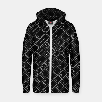 Thumbnail image of Keyboarded BLACK - The ultimate computer keyboard pattern for boys Zip up hoodie, Live Heroes