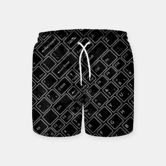 Thumbnail image of Keyboarded BLACK - The ultimate computer keyboard pattern for boys Swim Shorts, Live Heroes