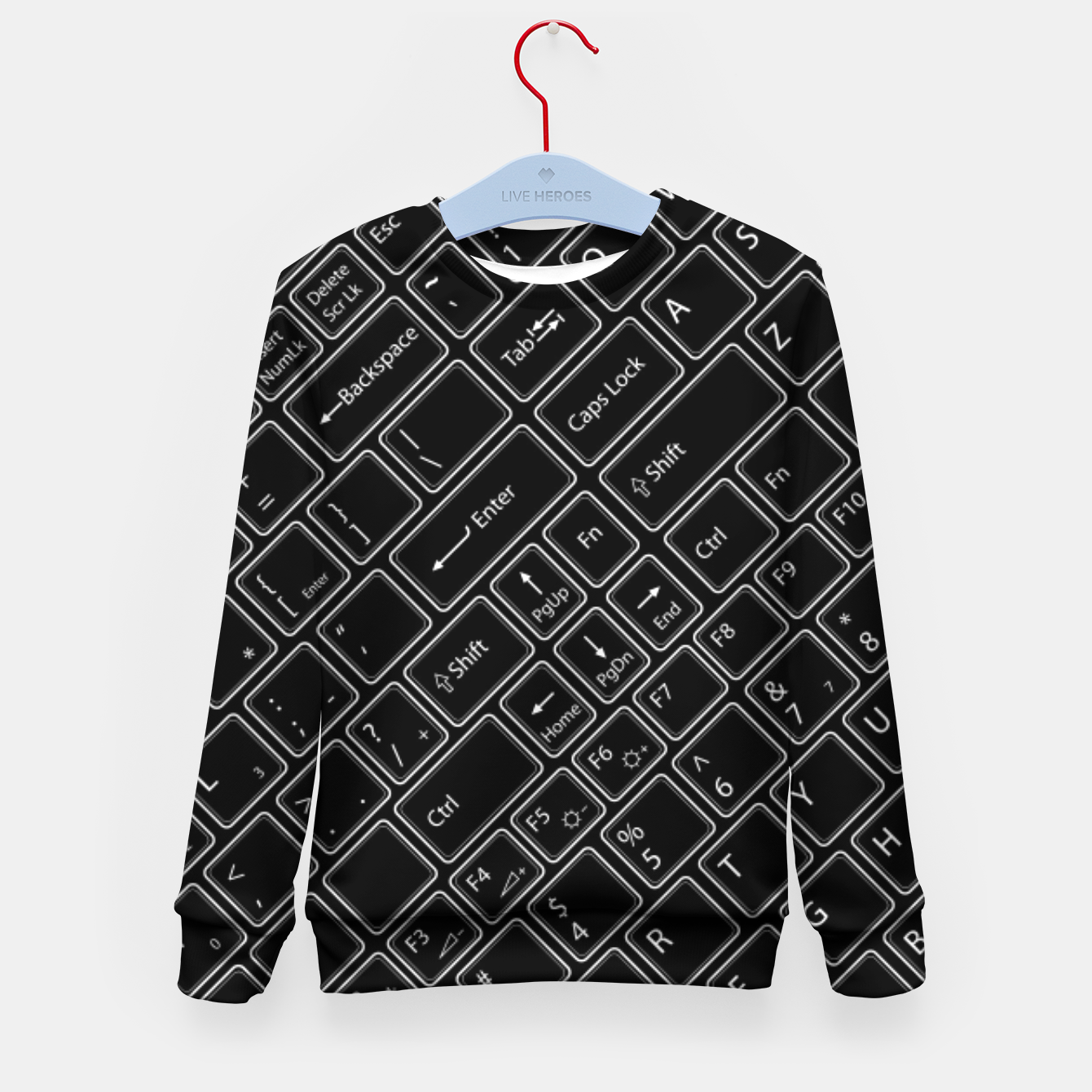 Image of Keyboarded BLACK - The ultimate computer keyboard pattern for boys Kid's sweater - Live Heroes