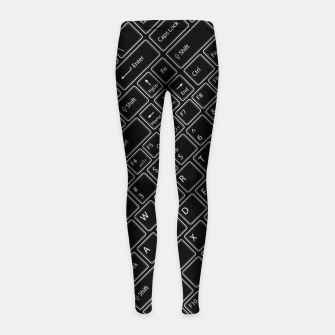 Thumbnail image of Keyboarded BLACK - The ultimate computer keyboard pattern for boys Girl's leggings, Live Heroes