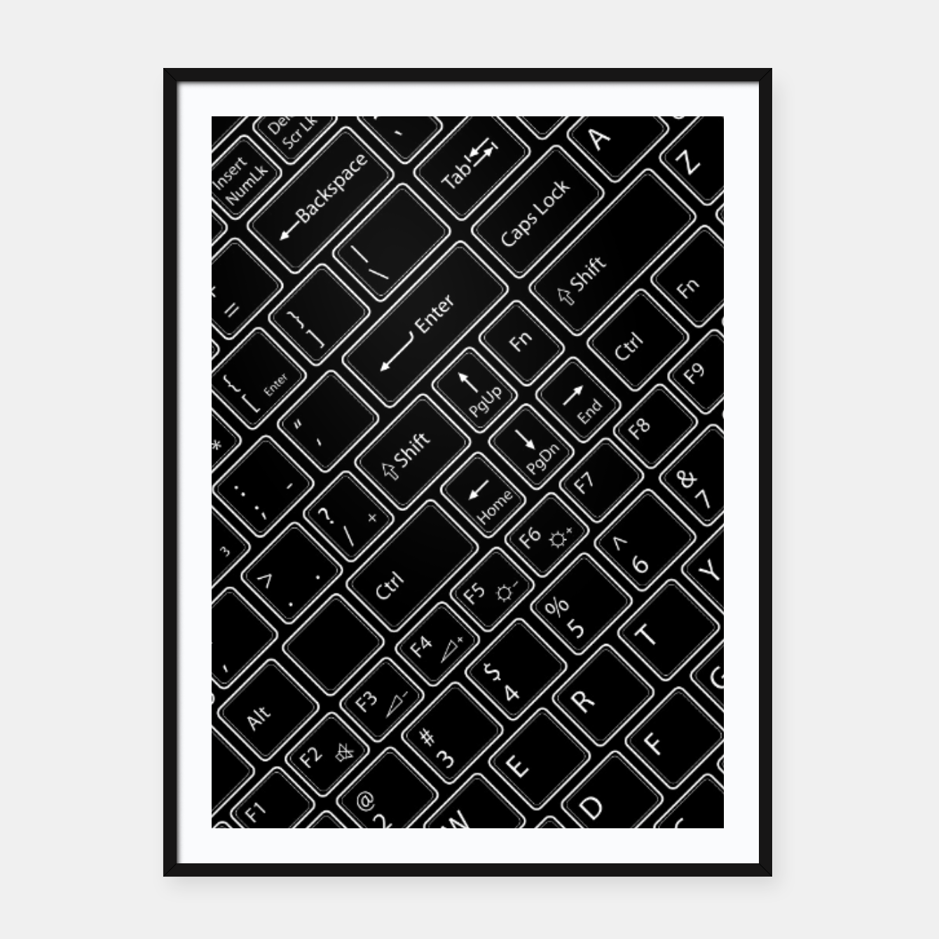 Image of Keyboarded BLACK - The ultimate computer keyboard pattern for boys Framed poster - Live Heroes