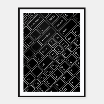 Thumbnail image of Keyboarded BLACK - The ultimate computer keyboard pattern for boys Framed poster, Live Heroes