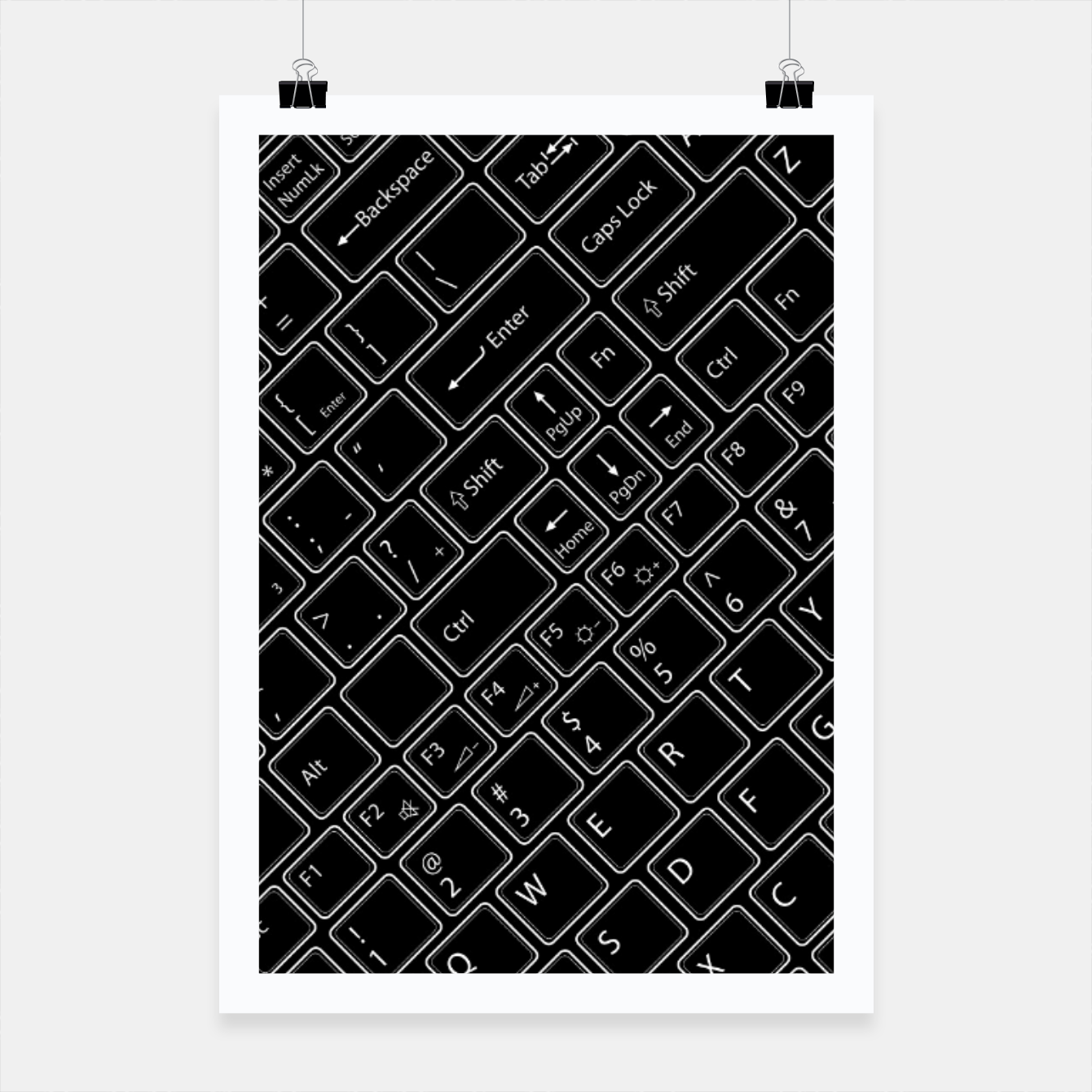 Image of Keyboarded BLACK - The ultimate computer keyboard pattern for boys Poster - Live Heroes