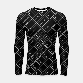 Thumbnail image of Keyboarded BLACK - The ultimate computer keyboard pattern for boys Longsleeve rashguard , Live Heroes