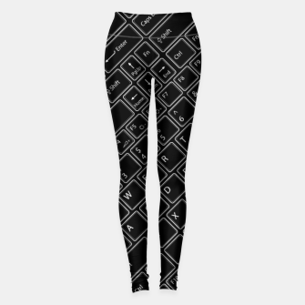 Miniaturka Keyboarded BLACK - The ultimate computer keyboard pattern for boys Leggings, Live Heroes