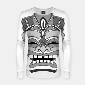 Thumbnail image of Smiling Tiki-Mask Women sweater, Live Heroes