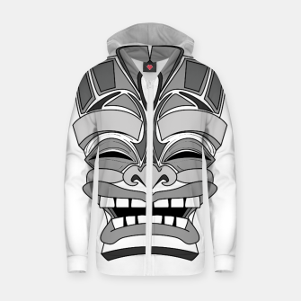 Thumbnail image of Smiling Tiki-Mask Zip up hoodie, Live Heroes