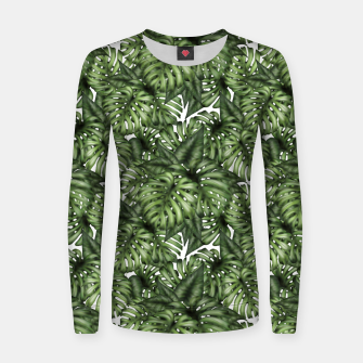 Miniatur Monstera Leaf Jungle Print Women sweater, Live Heroes