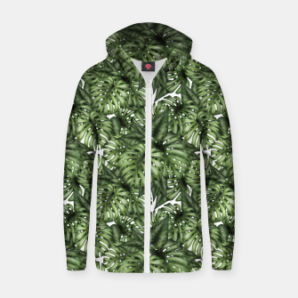 Monstera Leaf Jungle Print Zip up hoodie obraz miniatury