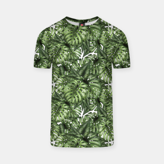 Monstera Leaf Jungle Print T-shirt obraz miniatury