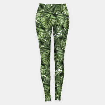 Monstera Leaf Jungle Print Leggings obraz miniatury