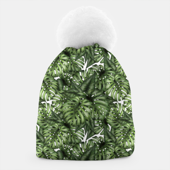 Monstera Leaf Jungle Print Beanie imagen en miniatura