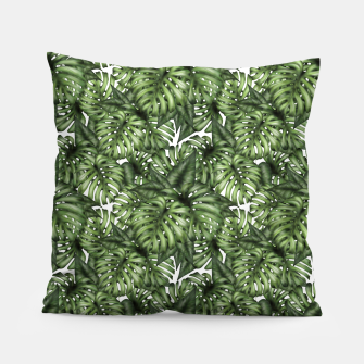 Monstera Leaf Jungle Print Pillow obraz miniatury