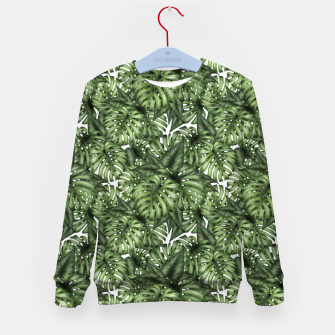 Monstera Leaf Jungle Print Kid's sweater imagen en miniatura