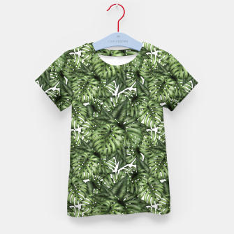 Monstera Leaf Jungle Print Kid's t-shirt obraz miniatury