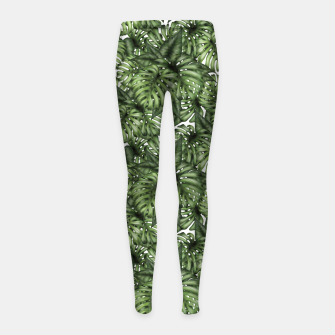 Monstera Leaf Jungle Print Girl's leggings obraz miniatury