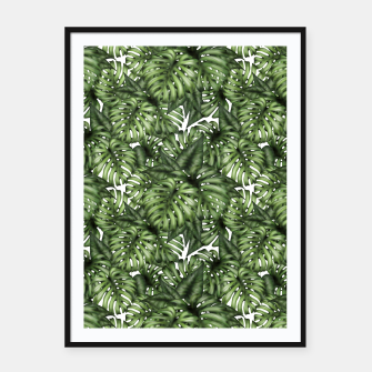Monstera Leaf Jungle Print Framed poster imagen en miniatura