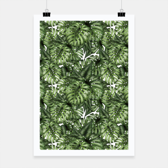 Monstera Leaf Jungle Print Poster obraz miniatury