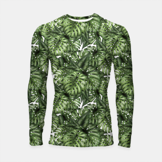 Monstera Leaf Jungle Print Longsleeve rashguard  obraz miniatury